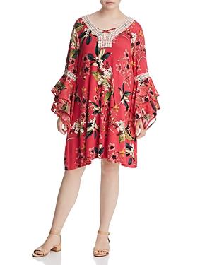 Cupio Plus Tropical-Print Bell-Sleeve Dress