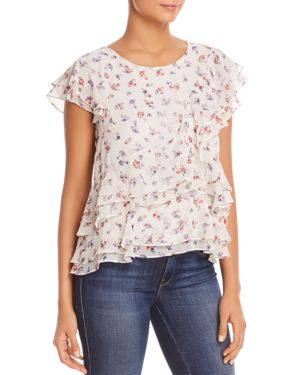 MARLED FLORAL-PRINT RUFFLE TOP