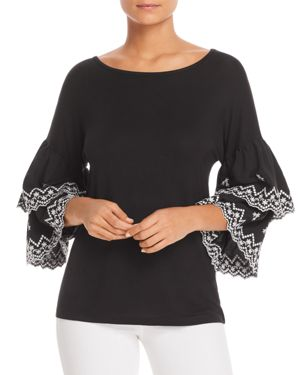 DESIGN HISTORY TIERED RUFFLE-SLEEVE TOP
