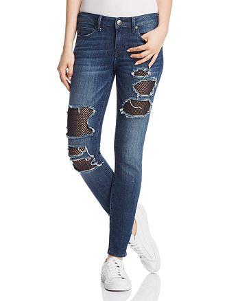 True Religion - Halle Mesh-Patch Skinny Jeans in Cobalt Crush