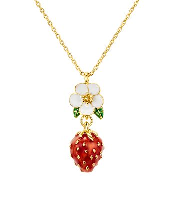 kate spade new york - Flower & Strawberry Pendant Necklace, 16""