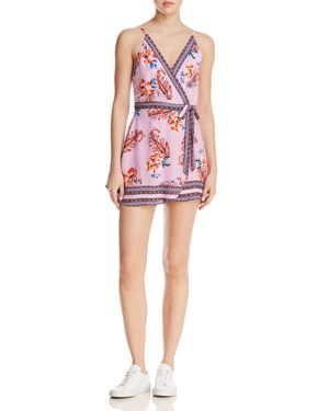 EN CREME Printed Faux-Wrap Romper - 100% Exclusive in Lilac Multi