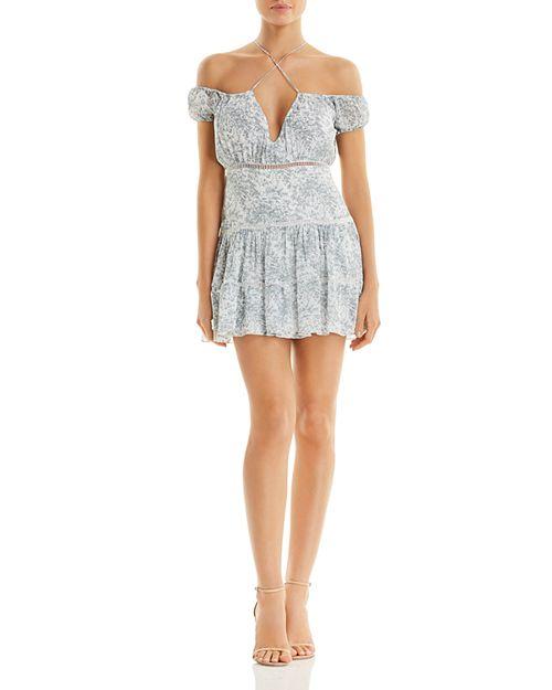 Karina Grimaldi - Sheila Printed Cold-Shoulder Mini Dress