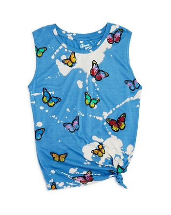 Flowers by Zoe - Girls' Bleached Butterfly Tank - Little Kid