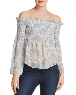 Melia Smocked Printed Off-The-Shoulder Top in Small Leaf