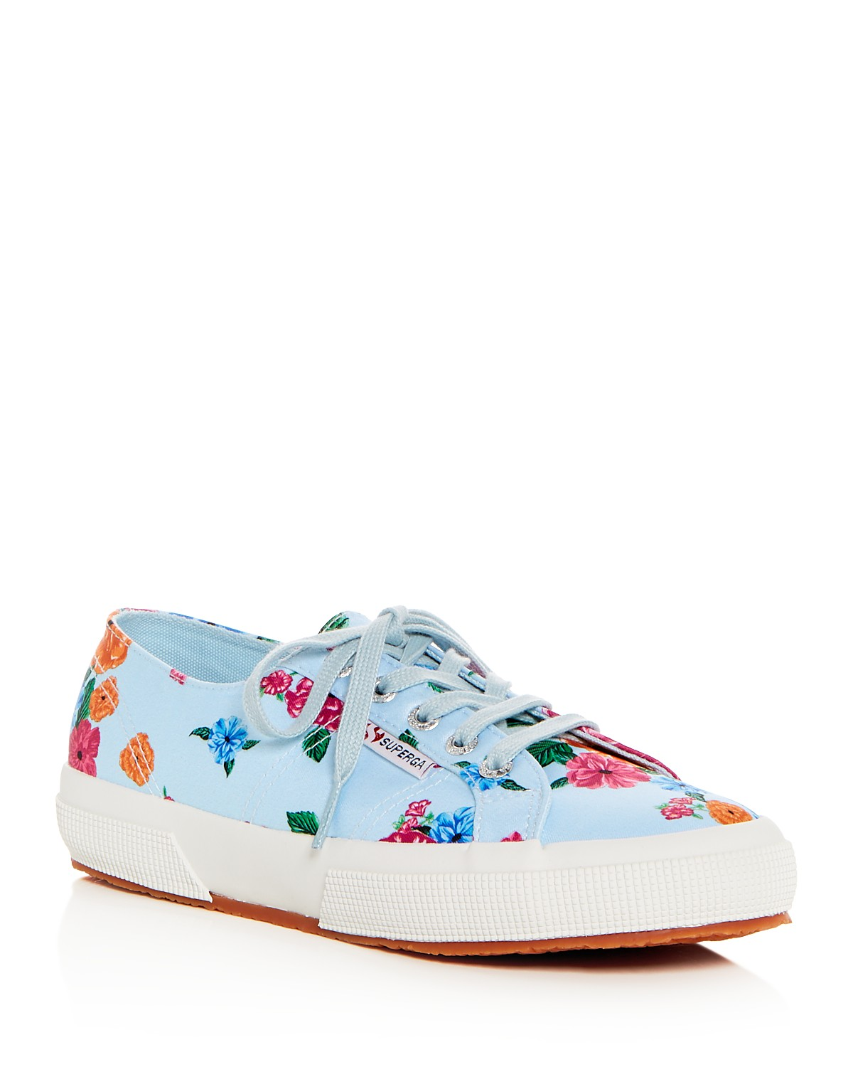 Superga Women's Classic Floral Satin Lace Up Sneakers Wtda7