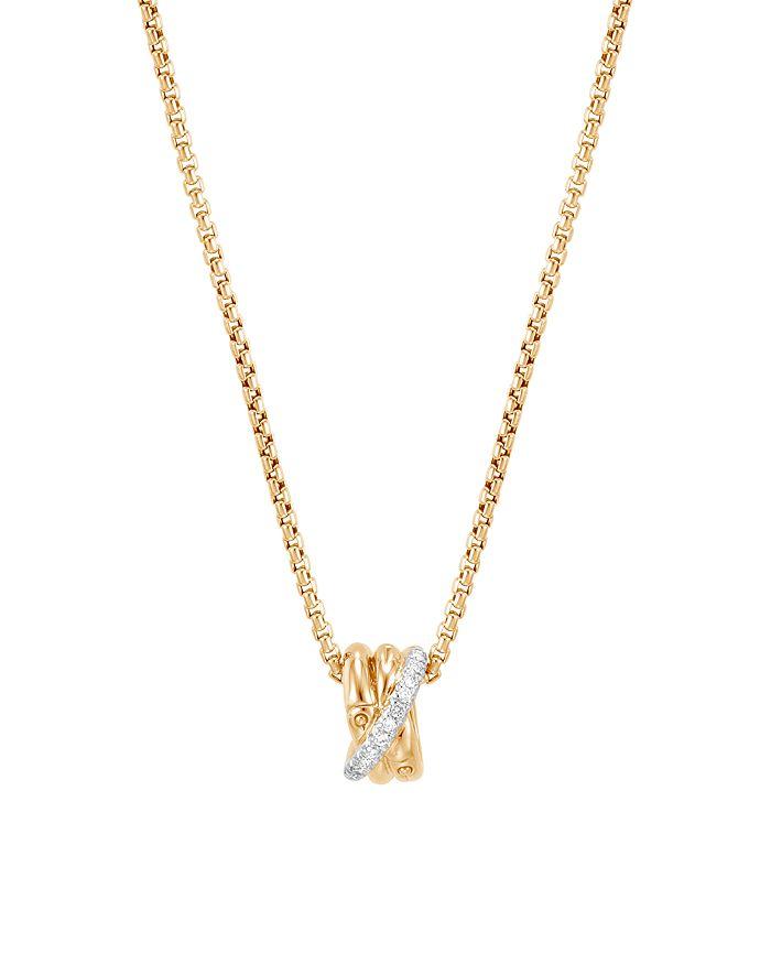 "JOHN HARDY - 18K Yellow Gold Bamboo Pavé Diamond Pendant Necklace, 16"""