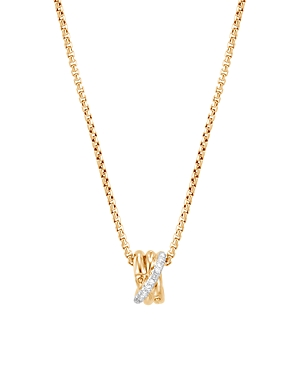 John Hardy 18K Yellow Gold Bamboo Pave Diamond Pendant Necklace, 16