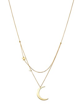 """Moon & Meadow - Crescent & Star Charm Layered Necklace in 14K Yellow Gold, 18"""" - 100% Exclusive"""