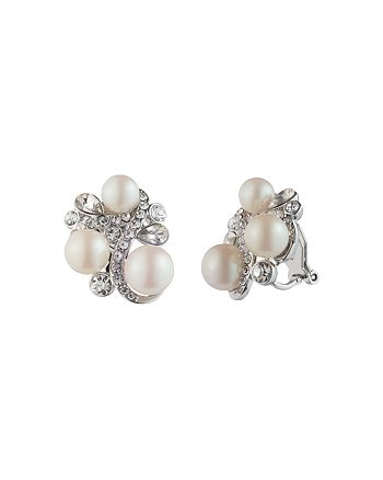 Carolee - Simulated Pearl Cluster Clip-On Earrings
