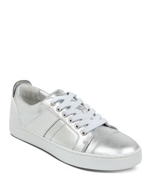 MARC FISHER LTD. Women'S Candi Leather Low Top Lace Up Sneakers in Silver