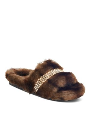KENDALL AND KYLIE WOMEN'S SHADE FAUX-FUR SLIDE SANDALS