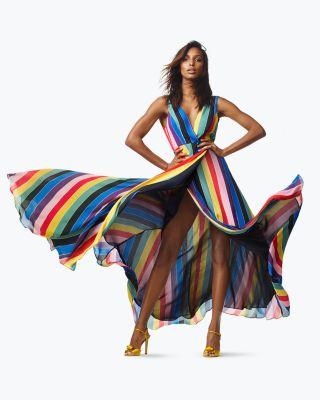 Rainbow Striped Maxi Wrap Dress - 100% Exclusive