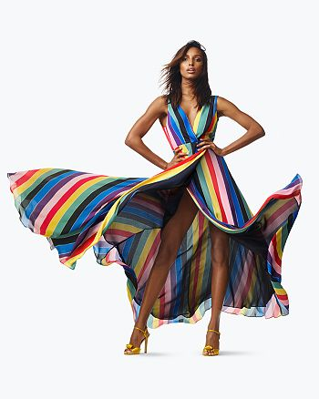 AQUA - Rainbow Striped Maxi Dress & SJP by Sarah Jessica Parker Ferry Satin Sandals - 100% Exclusives