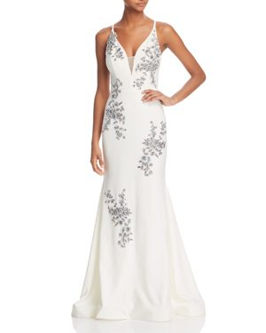AVERY G AVERY SLEEVELESS BEADED EMBROIDERED GOWN