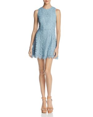 JOA OPEN-BACK LACE FIT-AND-FLARE DRESS