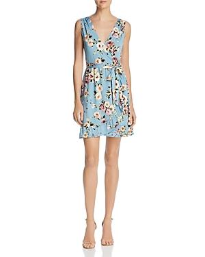 Aqua Floral Jersey Faux-Wrap Dress - 100% Exclusive