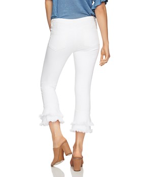 1.STATE - Frayed Ruffle Ankle Jeans in Ultra White