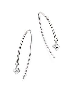 AeroDiamonds - 18K White Gold Solo Princess-Cut Diamond Threader Earrings
