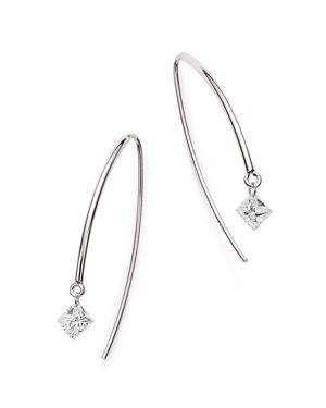 AERODIAMONDS 18K WHITE GOLD SOLO PRINCESS-CUT DIAMOND THREADER EARRINGS