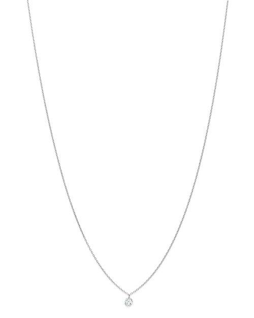 """AeroDiamonds - 18K White Gold Solo Round Diamond Fringe Necklace, 18"""""""