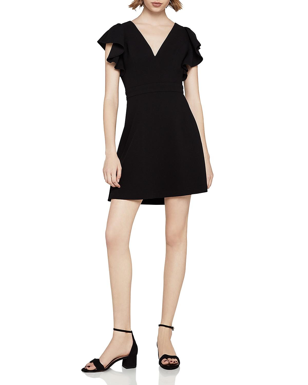 Flutter Sleeve V Neck Dress in Black. - size 0 (also in 2,4) BCBGeneration