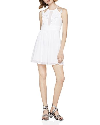 BCBGeneration - Ruffled Pintuck Fit-and-Flare Dress