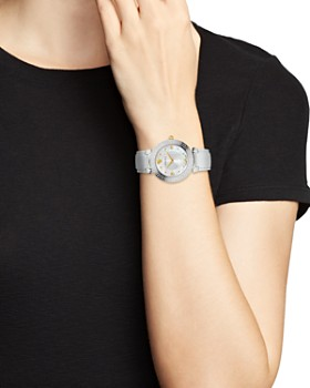 Versace Collection - Daphnis Mother-of-Pearl & White Leather Strap Watch, 35mm