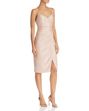 Bowery Shirred Metallic Sheath Cocktail Dress, Apricot