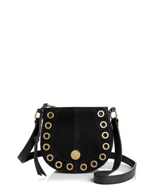 Kriss Mini Grommet Suede Saddle Shoulder Bag, Black/Gold