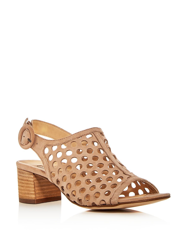 Paul Green Women's Rae Perforated Suede Block Heel Sandals OoRdy9tE
