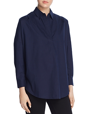 French Connection Rhodes Oversize V-Neck Poplin Shirt