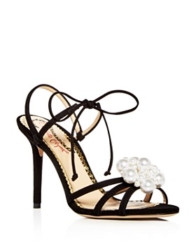 Charlotte Olympia - Women's Tallulah Embellished Suede Ankle Tie High-Heel Sandals