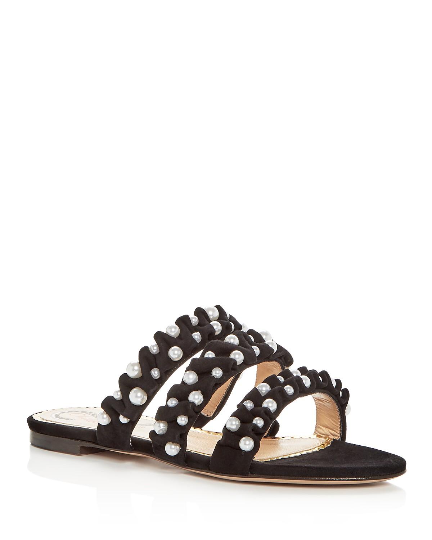 Charlotte Olympia Women's Celina Pearl Embellished Slide Sandals rD2AAn
