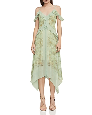 Bcbgmaxazria Linnette Printed Cold-Shoulder Slip Dress