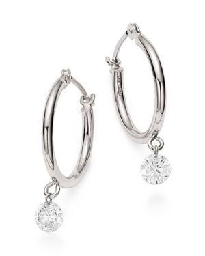 AERODIAMONDS Aerodiamonds 18K White Gold Solo Diamond Dangle Hoop Earrings
