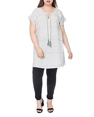 New B Collection by Bobeau Curvy Bethie Beaded Tunic, Ivory