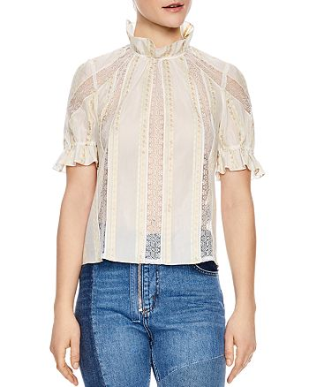 Sandro - Ramia Embroidered Lace-Inset Top