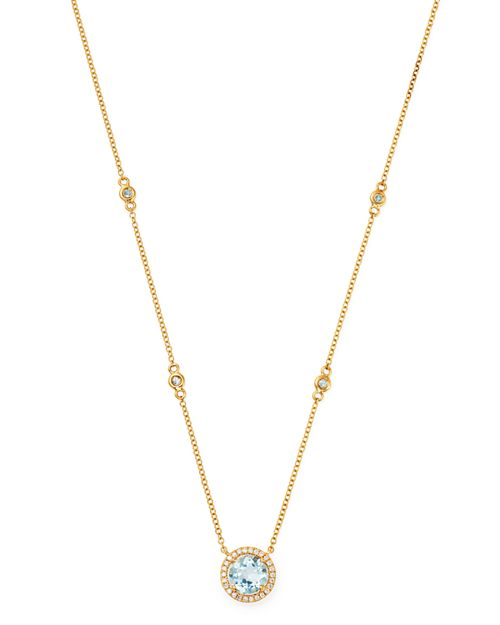 "Kiki McDonough - 18K Yellow Gold Grace Round Blue Topaz & Diamond Necklace, 16"""