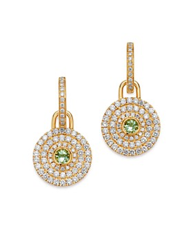 Kiki McDonough - 18K Yellow Gold Fantasy Green Amethyst & Diamond Drop Earrings