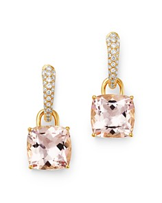 Kiki McDonough - 18K Yellow Gold Classics Cushion-Cut Morganite & Diamond Drop Earrings