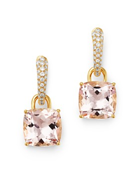 Kiki McDonough - 18K Yellow Gold Classics Cushion-Cut Morganite & Diamond Drop Earrings