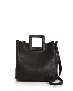 TMRW STUDIO Antonio Medium Leather Satchel in Black/Silver