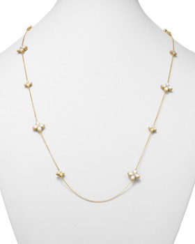 Roberto Coin - 18K Yellow Gold Venetian Princess Diamond & Mother-Of-Pearl Flower Station Necklace, 26""