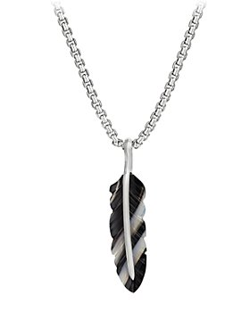 David Yurman - Sterling Silver Southwest Feather Banded Agate Amulet Pendant