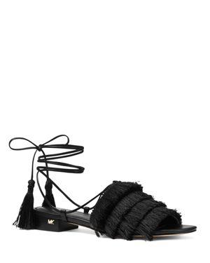 Women'S Gallagher Fringed Ankle Tie Sandals, Black