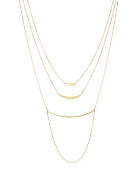 """Moon & Meadow - Triple Layer Bar Necklace in 14K Yellow Gold, 19"""" - 100% Exclusive"""