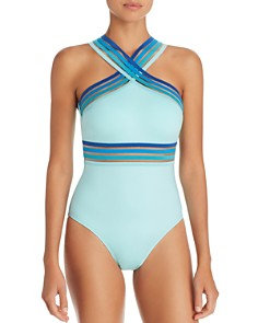 Kenneth Cole - Ombré-Trim High Neck One Piece Swimsuit