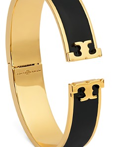 Tory Burch - Hinged Logo Enamel Bangle Bracelet
