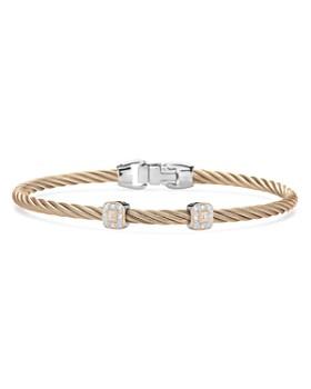 ALOR - Carnation Cable Bangle Bracelet With Diamonds